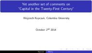 "Yet another set of comments on ""Capital in the Twenty-First Century"""
